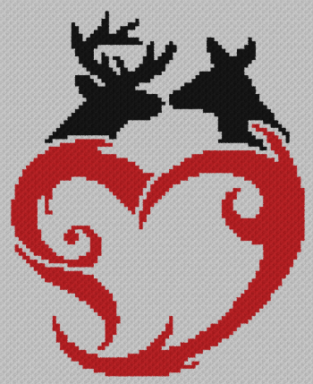 Buck & Doe Love - C2C Written Graphghan Pattern - 11 (82x101)