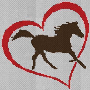Horse Love - C2C Written Graphghan Pattern - 03 (102x102)
