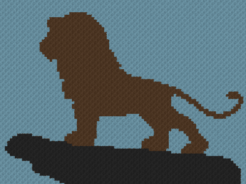 Adult Simba on Pride Rock (The Lion King) - C2C Written Graphghan Pattern - 08 (100x75)