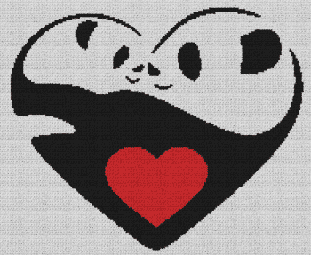 Panda Love/Heart - Single Crochet Written Graphghan Pattern - 06 (200x164)