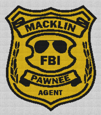 Burt Macklin FBI Badge (Parks & Recreation) - Single Crochet Written Graphghan Pattern - 01 (193x221)