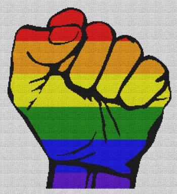 Gay Pride Fist - Single Crochet Written Graphghan Pattern - 05 (234x257)