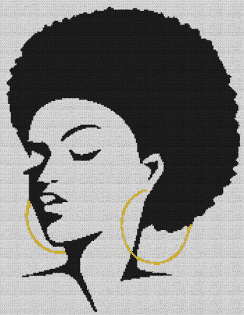 Black Woman With Afro - Single Crochet Written Graphghan Pattern - 10 (178x230)