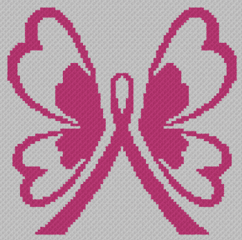 Breast Cancer Butterfly - C2C Written Graphghan Pattern - 05 (97x96)