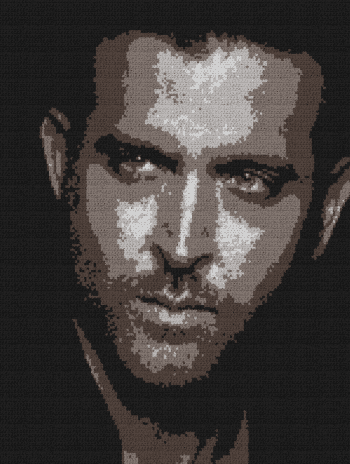 Hrithik Roshan - Single Crochet Written Graphghan Pattern - 01 (151x200)