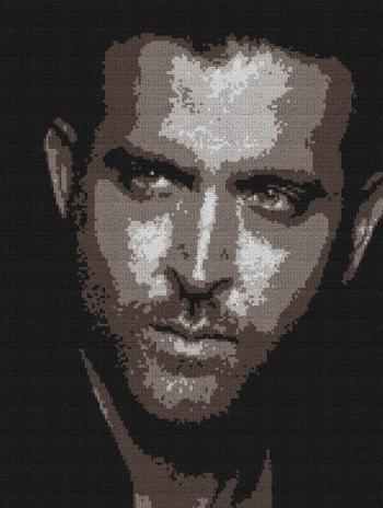 Hrithik Roshan - Single Crochet Written Graphghan Pattern - 01 (151x200)