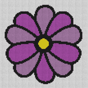Simple Flower - Single Crochet Written Graphghan Pattern - 02 (99x99)