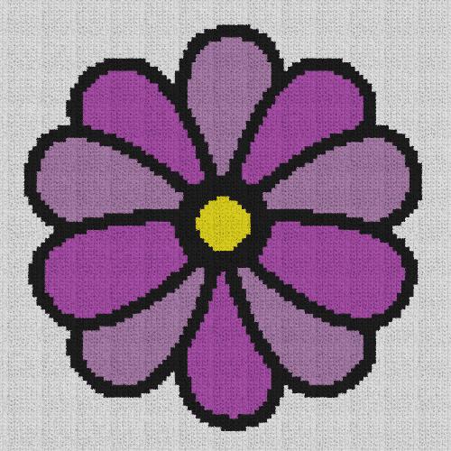Simple Flower - Single Crochet Written Graphghan Pattern - 02 (99x99)