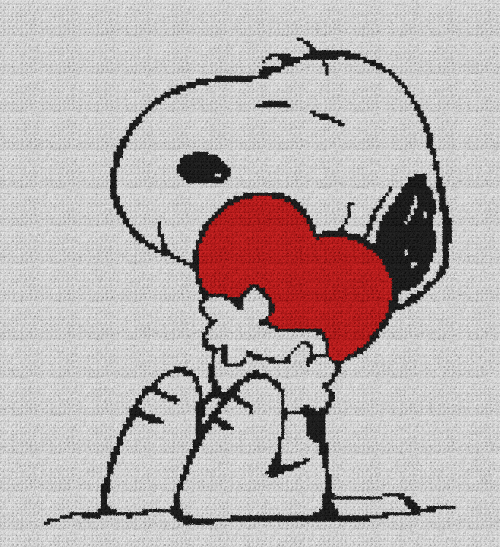 Snoopy Hugging Heart (Peanuts) - Single Crochet Written Graphghan Pattern - 07 (150x165)