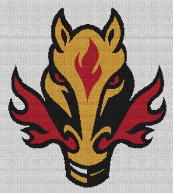 Calgary Flames - Single Crochet Written Graphghan Pattern - 01 (215x240)