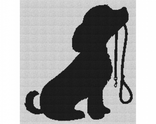 Dog Holding Leash - Single Crochet Written Graphghan Pattern - 03 (190x205)