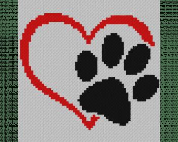 Dog Love Heart - C2C Written Graphghan Pattern - 05 (65x65)