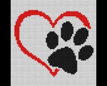 Dog Love Heart Pillow - Single Crochet Written Graphghan Pattern - 05 (220x250)