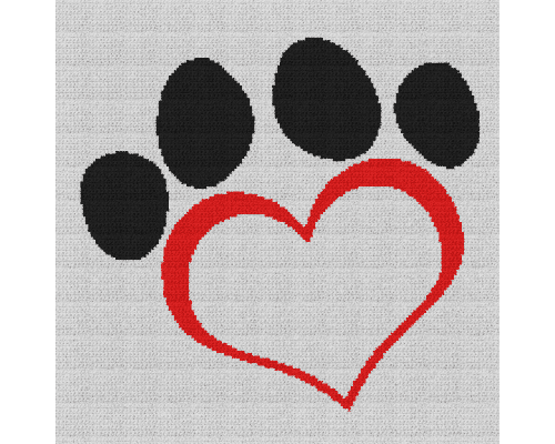 Dog Paw Heart - Single Crochet Written Graphghan Pattern - 08 (168x168)