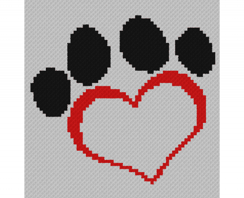 Dog Paw Heart - C2C Written Graphghan Pattern - 08 (64x65)
