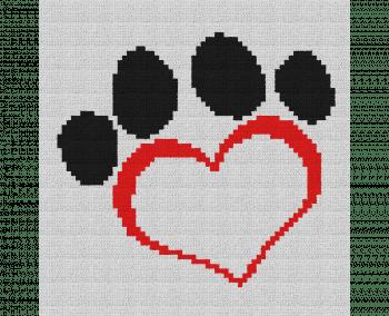 Dog Paw Heart Pillow - Single Crochet Written Graphghan Pattern - 08 (64x65)