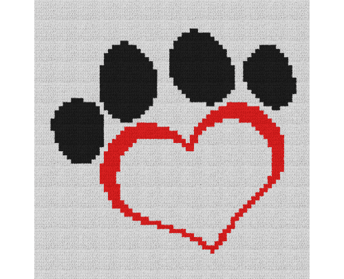 Dog Paw Heart Pillow - Single Crochet Written Graphghan Pattern - 08 (64x65)