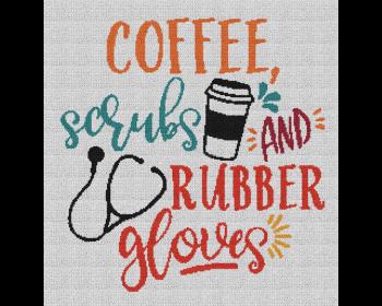 Coffee, Scrubs & Rubber Gloves - Single Crochet Written Graphghan Pattern - 03 (240x250)