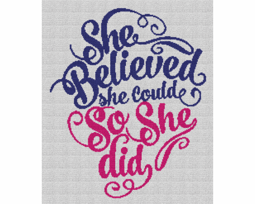 She Believed She Could, So She Did - Single Crochet Written Graphghan Pattern - 01 (200x240)