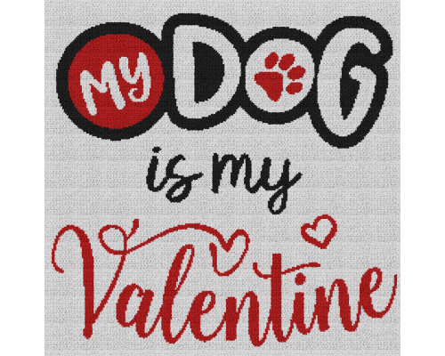 My Dog Is My Valentine - Single Crochet Written Graphghan Pattern - 13 (240x240)