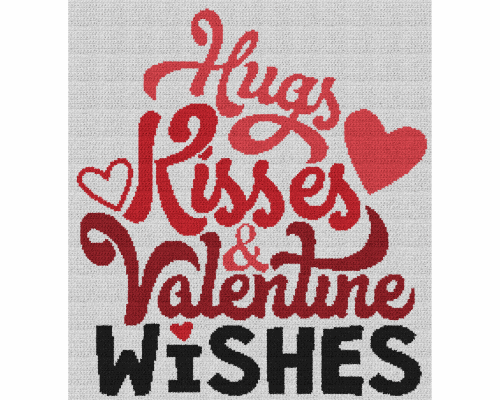Hugs, Kisses & Valentine Wishes - Single Crochet Written Graphghan Pattern - 08 (209x230)