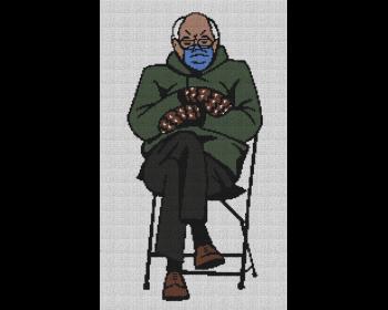 Bernie Sanders in Mittens at Inauguration - Single Crochet Written Graphghan Pattern - 03 (150 x 250)
