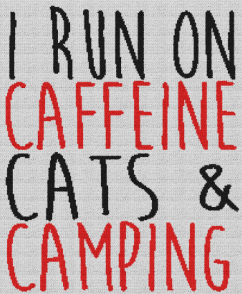 I Run on Caffeine, Cats & Camping - Single Crochet Written Graphghan Pattern - 09 (206 x 250)