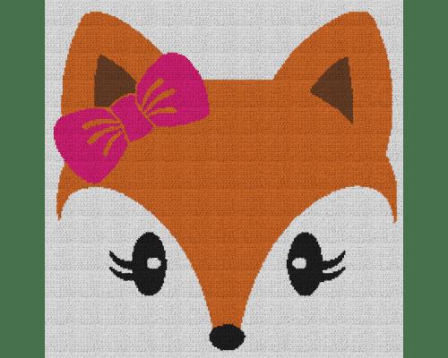 Cute Girl Fox - Single Crochet Written Graphghan Pattern - 01 (240 x 240)