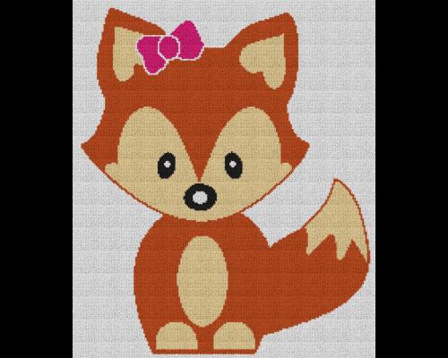 Cute Baby Girl Fox - Single Crochet Written Graphghan Pattern - 02 (191 x 227)