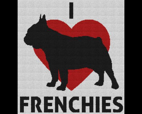 I Love Frenchies - Single Crochet Written Graphghan Pattern - 03 (225 x 240)